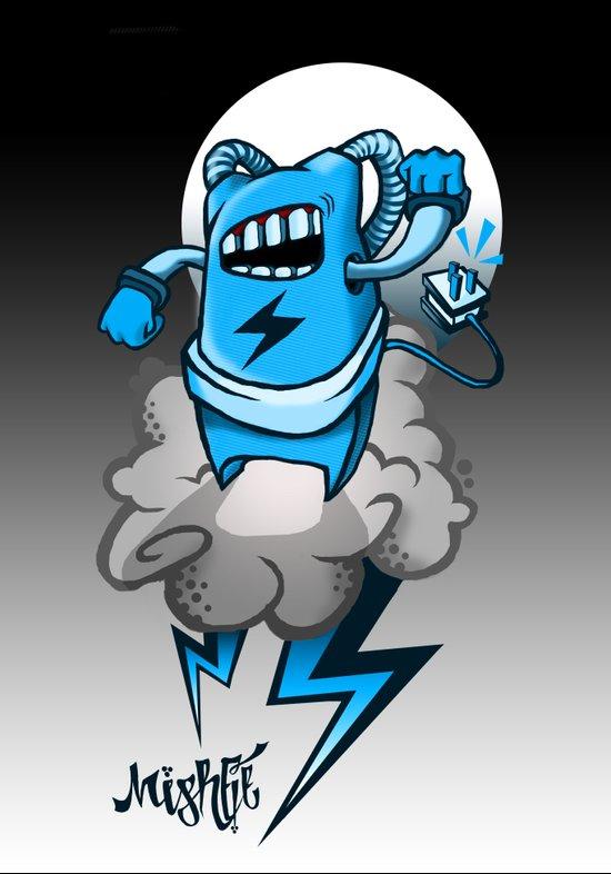 StormBot - Blue Robot Art Print