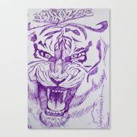 Roaring Purple Tiger Canvas Print