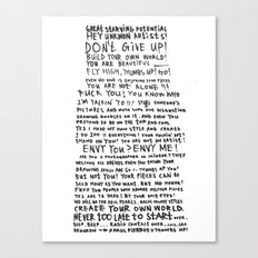 DRUNKEN PAUL PIERROT'S LETTER TO THE GREAT ARTISTS AND BAD ARTISTS. Canvas Print