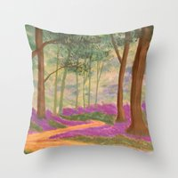 Bluebell Pathway Throw Pillow