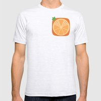 Orange Heart Mens Fitted Tee Ash Grey SMALL