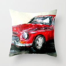MG 1969 Classic Car Acrylics On Paper Throw Pillow