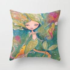 Mermaid Girl Throw Pillow
