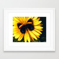 Butterfly On Yellow Framed Art Print