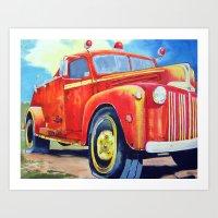 Big Red - Vintage Fire T… Art Print