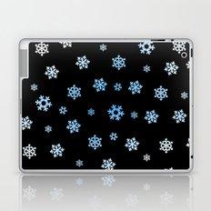 Snowflakes (Blue & White on Black) Laptop & iPad Skin