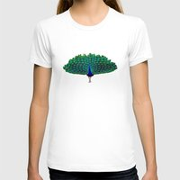peacock T-shirts featuring Peacock by Crayle Vanest