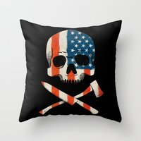 American P$yscho Throw Pillow