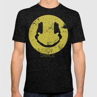 Music Smile Mens Fitted Tee Tri-Black SMALL
