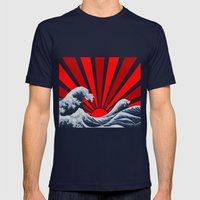 Great Wave Of The Rising… Mens Fitted Tee Navy SMALL