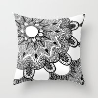 Black And White Doodle 2 Throw Pillow