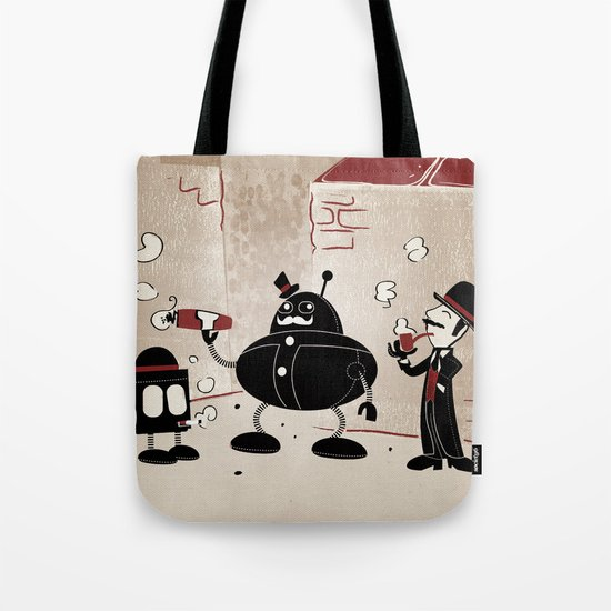 Smoke Break at the Clink Clang Detective Agency Tote Bag