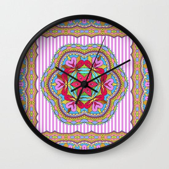 Mix&Match;  Pretty Pink Mandala Meditation pillow 03 Wall Clock