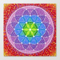 Canvas Print featuring Rainbow Flower Of Life by Elspeth McLean