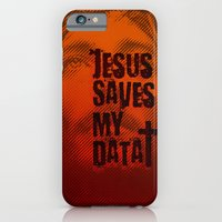 iPhone & iPod Case featuring Jesus saves my data by Lulla