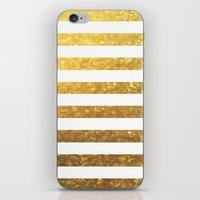 White And Gold Stripes  iPhone & iPod Skin