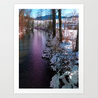 Quiet River In Winter Ti… Art Print