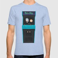 Rick and Morty Mens Fitted Tee Tri-Blue SMALL
