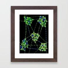 Networks Green on Black Framed Art Print