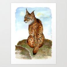 Iberian Lynx Watercolor Art Print