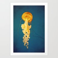 jellyfish Art Prints featuring Jellyfish by Retro Love Photography