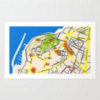 Tel Aviv Jaffa map design - written in Hebrew 2  Art Print