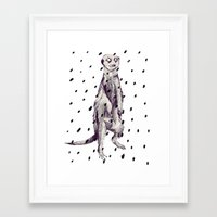 Meerkat In The Rain Framed Art Print