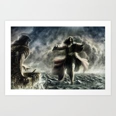 Walking over the water Art Print