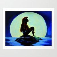 Mermaid In The Moonlight Art Print