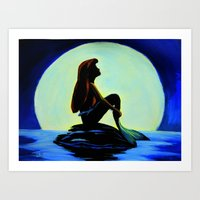 Mermaid In The Moonlight Art Print