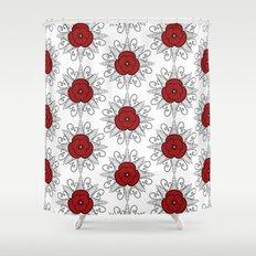 Red ANZAC Poppy Shower Curtain
