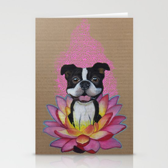 Zen Boston Terrier Stationery Card