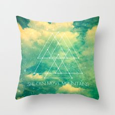 She Can Move Mountains Throw Pillow