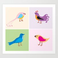 4 Little Birdies Art Print