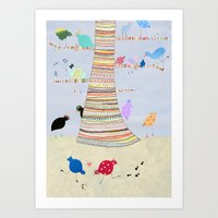Gossiping birds Art Print