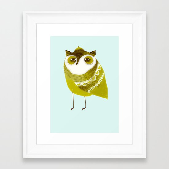 Golden Owl illustration  Framed Art Print