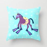 Summer Time Unicorn Fun Throw Pillow