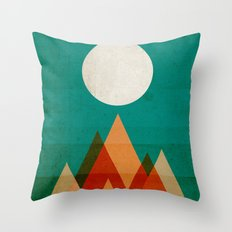 Full moon over Sahara desert Throw Pillow