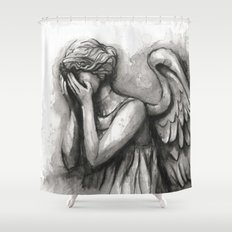 Weeping Angel Watercolor Doctor Who Art Shower Curtain