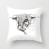 Hairy Cow Throw Pillow