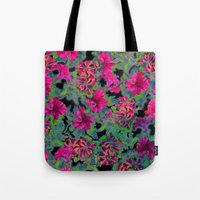 vivid pink petunia on black background Tote Bag