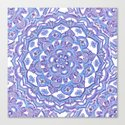 Lilac Spring Mandala - floral doodle pattern in purple & white Canvas Print