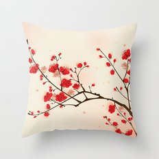 Oriental style painting, plum blossom in spring Throw Pillow