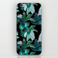 Midnight Iris / Black iPhone & iPod Skin