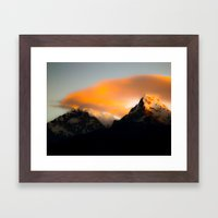 Welcoming dawn in the mountains Framed Art Print