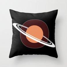 Orange Saturn Throw Pillow