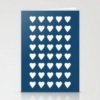 64 Hearts Navy Stationery Cards