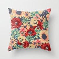 SEPIA FLOWERS -poppies, … Throw Pillow