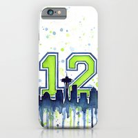iPhone & iPod Case featuring Seattle 12th Man Art Skyline Watercolor  by Olechka