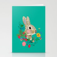 Rabbit Head With Flowers… Stationery Cards